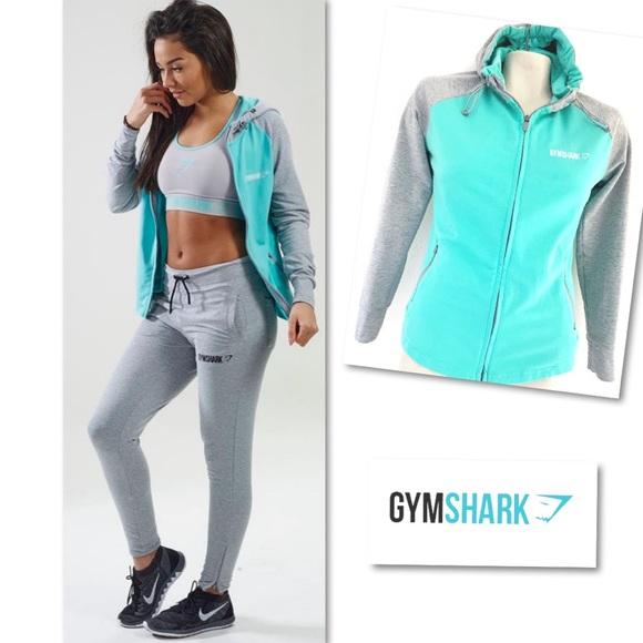 Gymshark Tops - GymShark Fit Hoodie Grey Marl/Mint Green XS